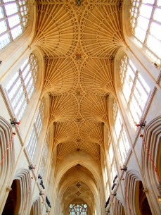 Bath Cathedral ceiling in summertime. The light helped to highlight the detail in this shot I took on a recent visit there.