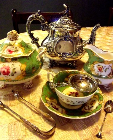 This silver teapot would have graced the table of a fine Victorian lady while the teawares would have been sipped from during the late Regency period.