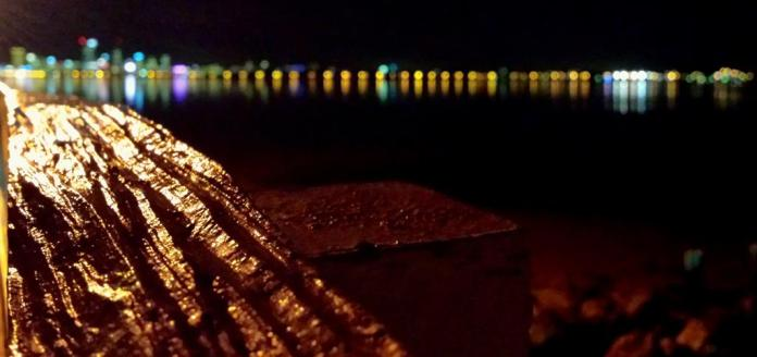 This is a macro photo I took of an old jetty hand rail with Perth city in the background.