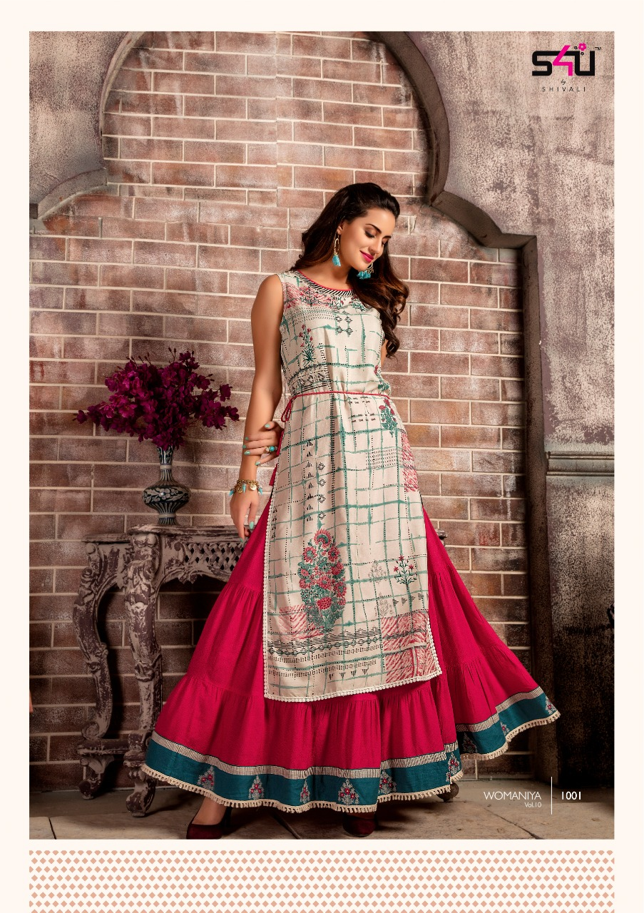 6372394ffb DOWNLOAD ZIP · DOWNLOAD PDF WOMANIYA VOL 10 BY S4U BY SHIVALI KURTI WITH  BOTTOM COLLECTION