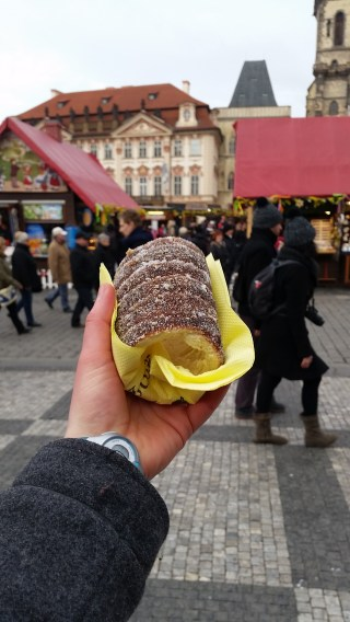 trdelnik! Crisp on the outside, warm, a bit smoky from the coals, walnuts, sugar. DELICOUS