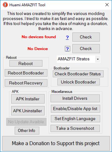 Huami AMAZFIT Tool screen