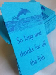 So long and thanks for all the fish | Letterpress printed Do… | Flickr