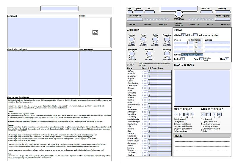 picture about Printable Character Sheet called Zweihander Temperament Sheet Extraordinary Stories