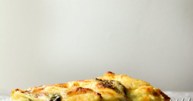 Vegetarian Ackee Lasagna with Mushrooms & Basil