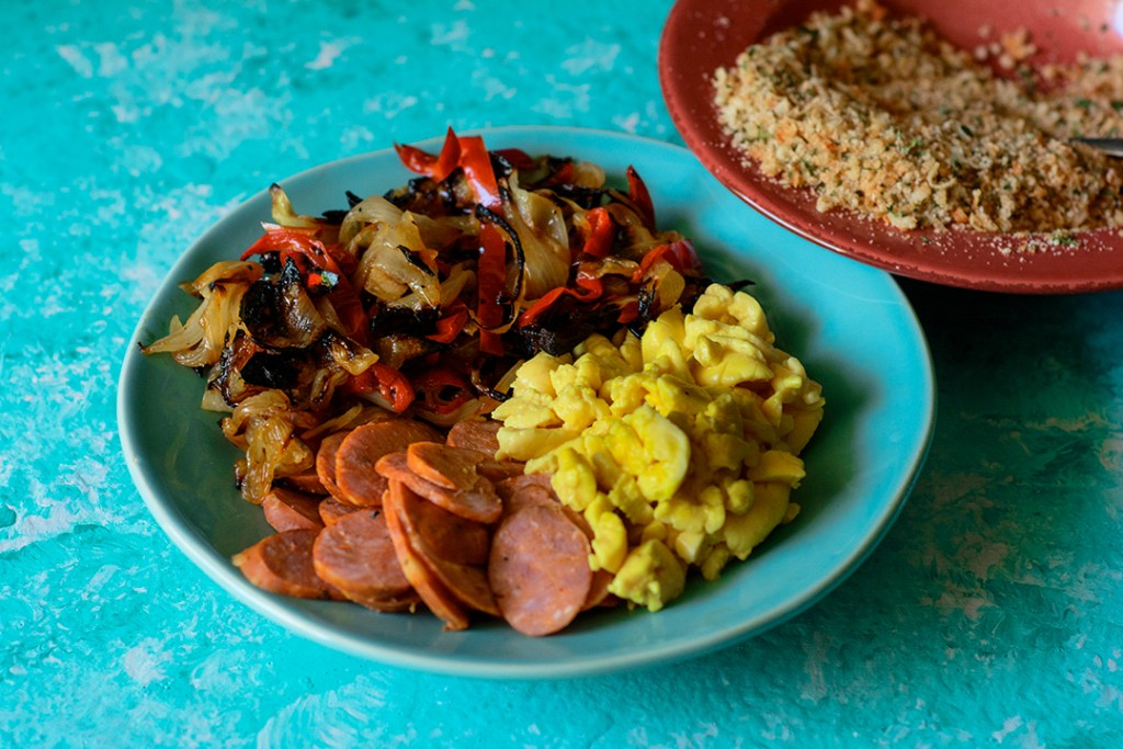 Stuffed-focaccia-with-ackee-andouille-sausage-charred-onions-and-red-pepper