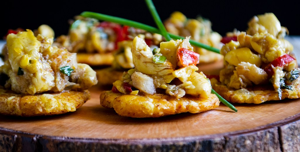 Appetizer Ackee Saltfish On Fried Green Plantains Ackee Adventures