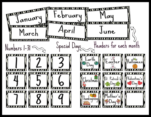 Zebra Themed Calendar Set Printable Worksheet with Answer