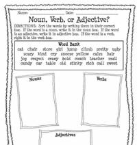 Noun, Verb, or Adjective Worksheet Printable Worksheet ...
