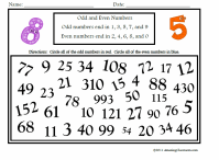 Math - Numbers & Operations - Recognizing Numbers / Odd ...