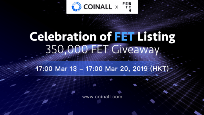 CoinAll Lists Fetch.AI and Offers a 350 000 FET Giveaway