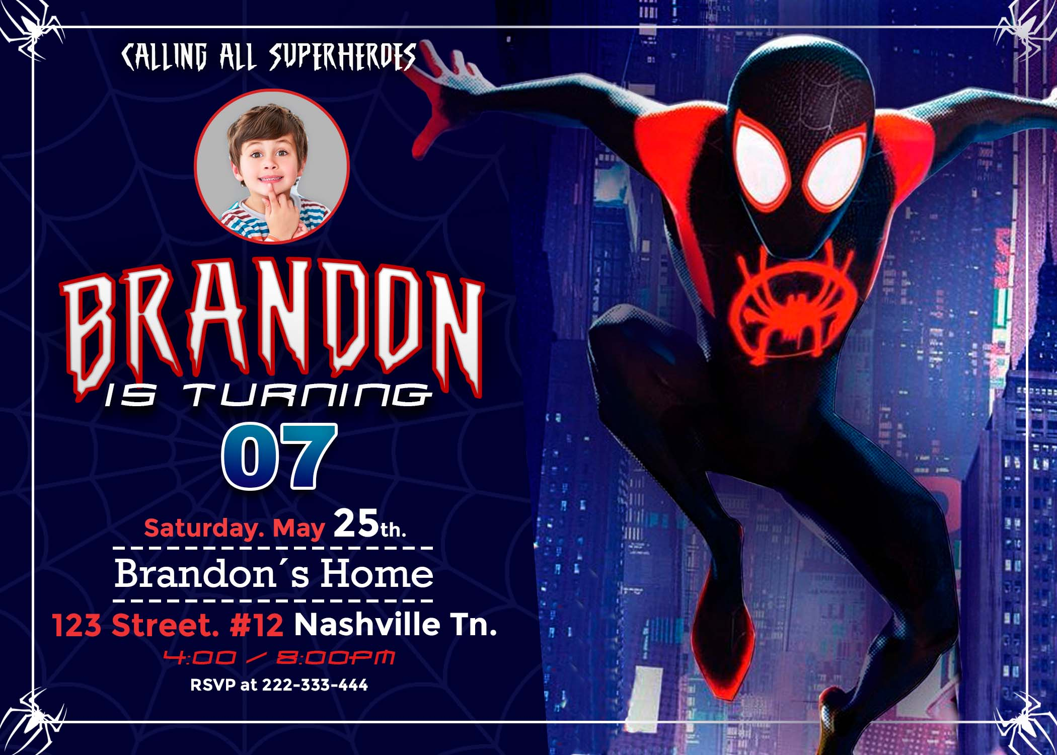 spider verse birthday invitation