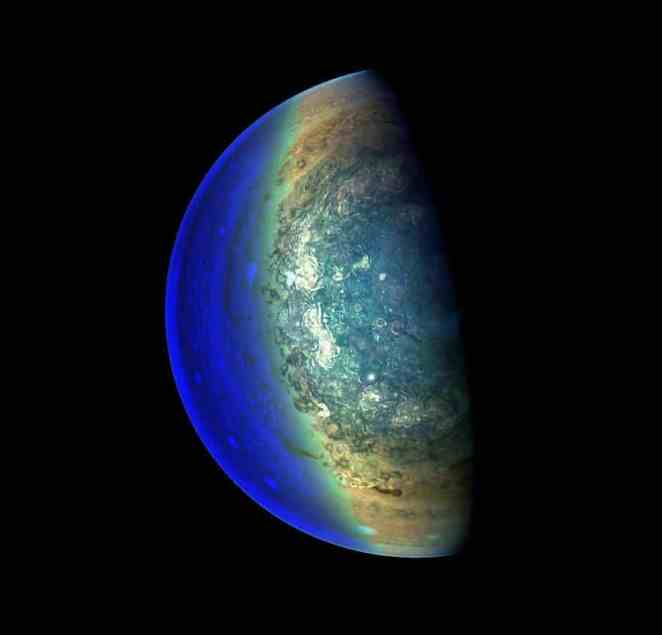 image swirling cloud formations south pole Jupiter photos