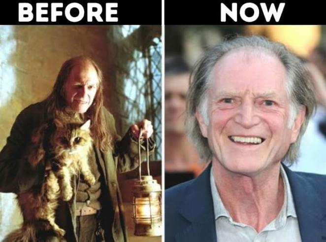 actors from Harry Potter now Argus Filch played by David Bradley