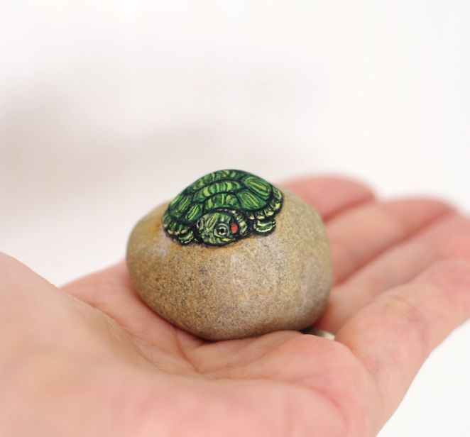 Artist Paints Found Stones That Look Like Real Baby Red-Eared Slider And I Hope They Make You Smile