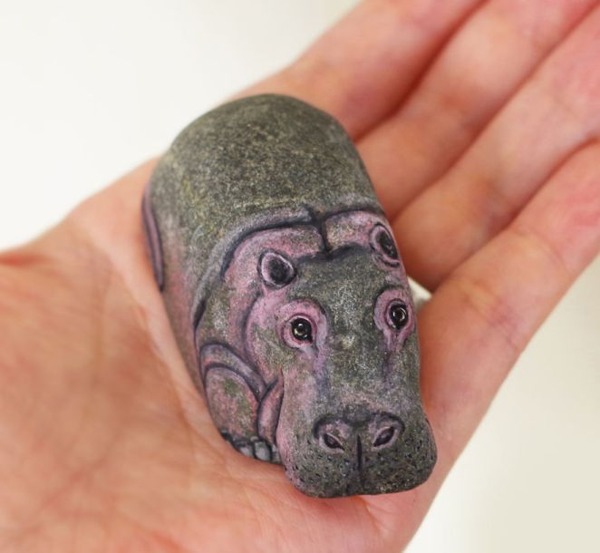Artist Paints Found Stones That Look Like Real Hippo And I Hope They Make You Smile