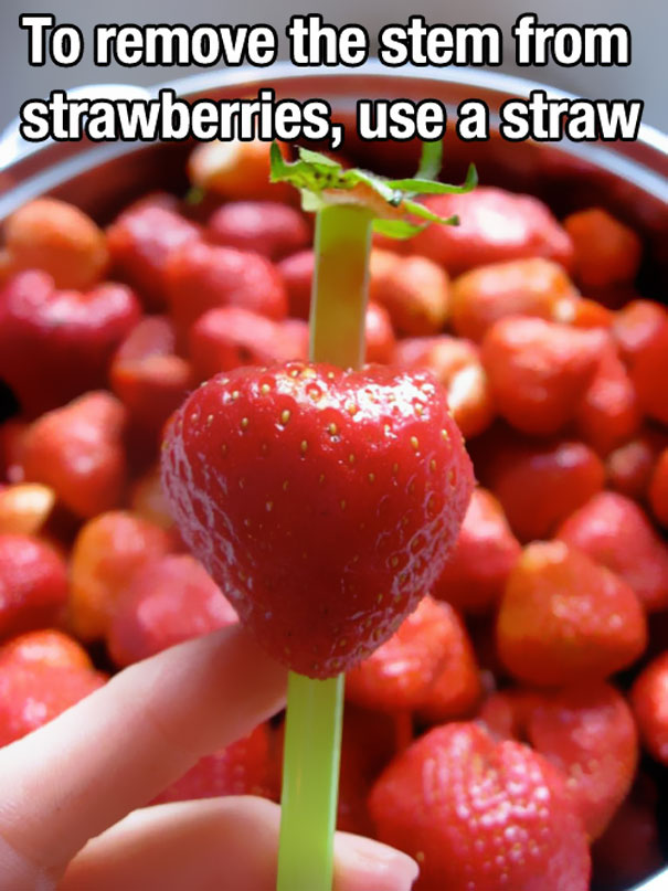 Diy tricks to eat strawberries home