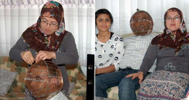 Turkish Man Ibrahim Yucel with family who locks himself in a copper helmet to stop smoking
