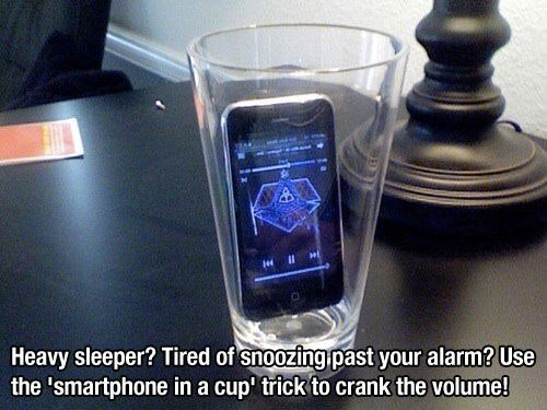 life hacks smart phone in a cup snoozing alarm