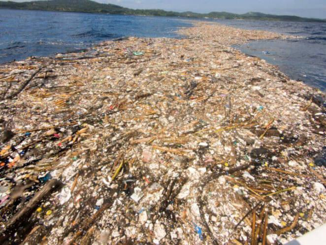 plastic garbage five miles damaging ocean environment plastic near Caribbean Island