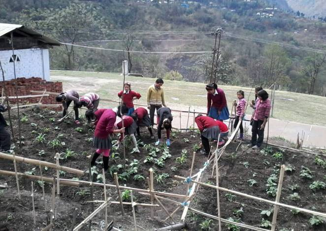 Students of K Khel GMS school Grow Their Own Organic Mid-Day Meals