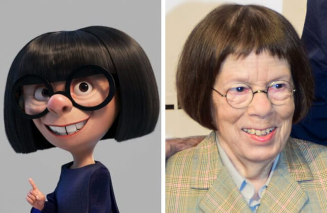 story of Edna the character in The Incredibles on the life of fashion designer Edith Head