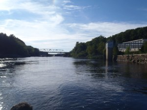 View of the Androscoggin River by the retaining wall