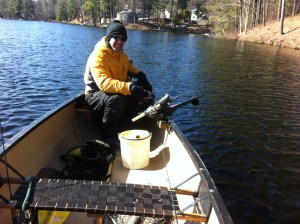Joel trolling for rainbow trout on Stanley Pond on a cold April morning