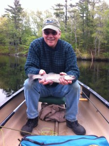 "The blog author with his 14"" rainbow trout"