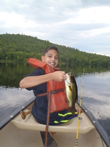 Christian showing off his Bradley Pond largemouth bass