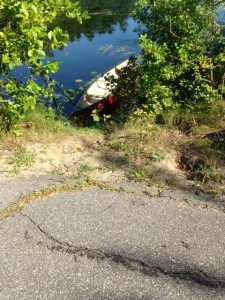 The access point from Whippoorwill Road to Little Purgatory Pond is just a hole through bushes...