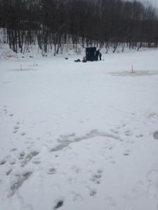 We set up camp close to the dam