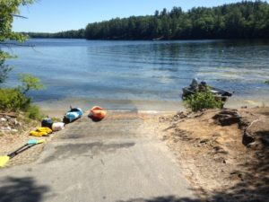 The Crescent Lake boat launch is wide and spacious but comes right off busy Route 85