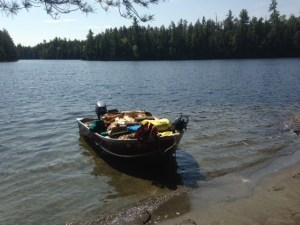 The cargo ship finally made it to the camp site on Upper Pond!