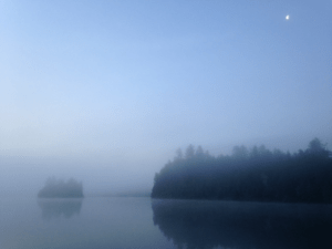 I love the ambiance of a wind-still foggy morning on Pierce Pond!