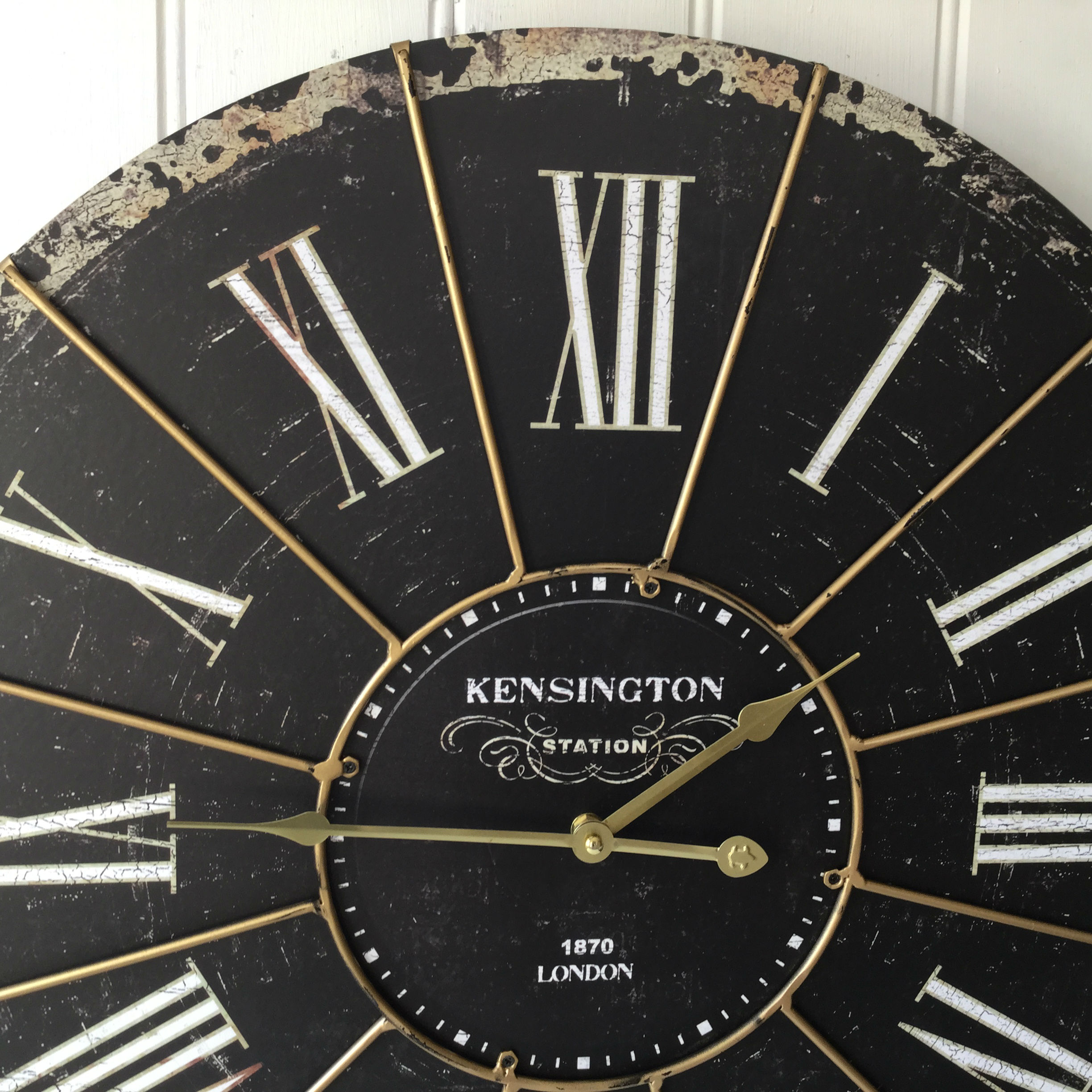 metal chair covers folding egg extra large shabby chic kensington station wall clock antique vintage style – amazing grace ...