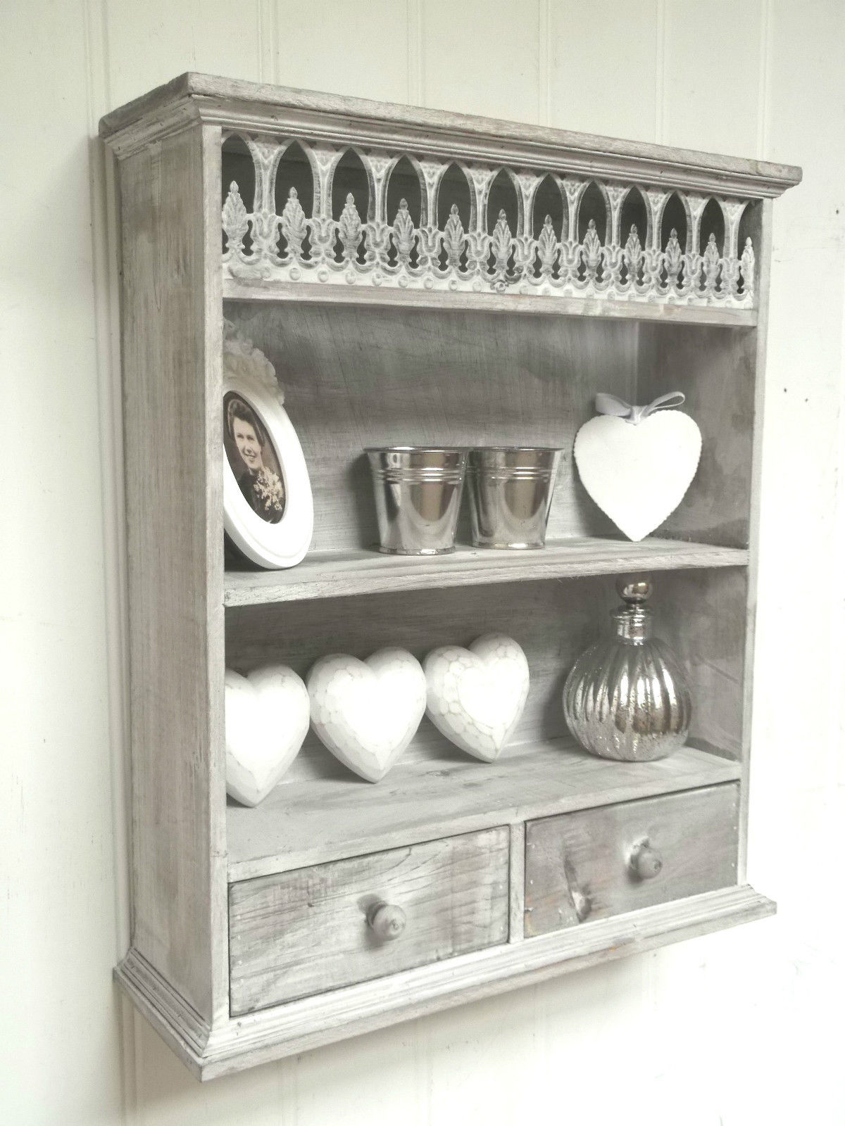 metal chair covers wedding oak desk swivel shabby chic wall unit shelf storage cupboard cabinet french vintage style – amazing grace interiors