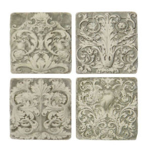kitchen chair covers cork high hardware french shabby chic set of 4 ceramic tile coasters antique vintage style – amazing grace interiors