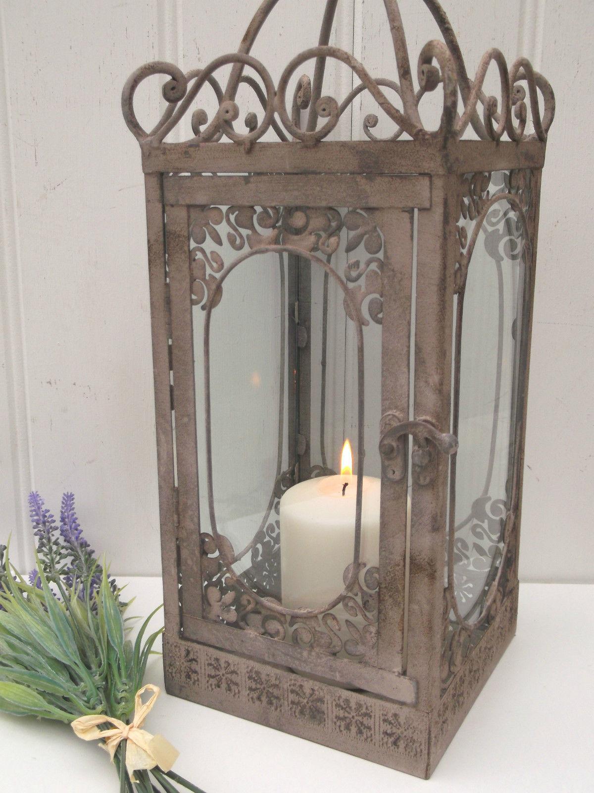 Vintage Style French Grey Large Lantern Candle Holder