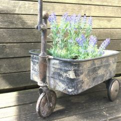 Chair Planter Stand Beige Banquet Covers Antique Vintage Style Metal Garden Cart Trolley Plant Patio – Amazing Grace ...