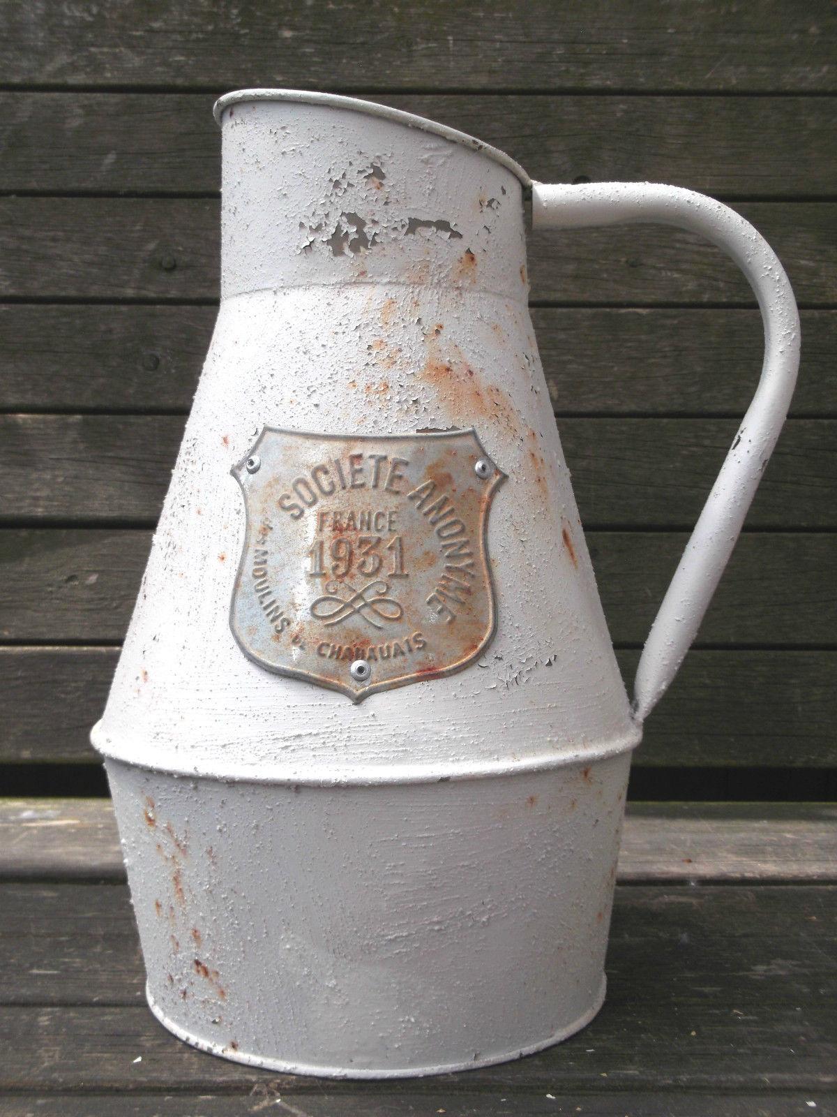 Antique French Vintage Style Metal Jug Pitcher Vase Flower