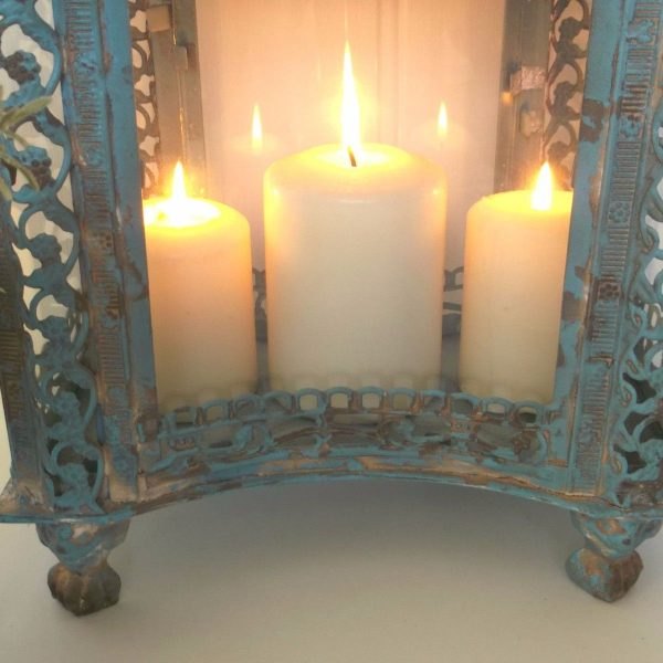 light blue chair covers vintage metal outdoor chairs large french style lantern candle holder shabby chic antique country – amazing grace ...