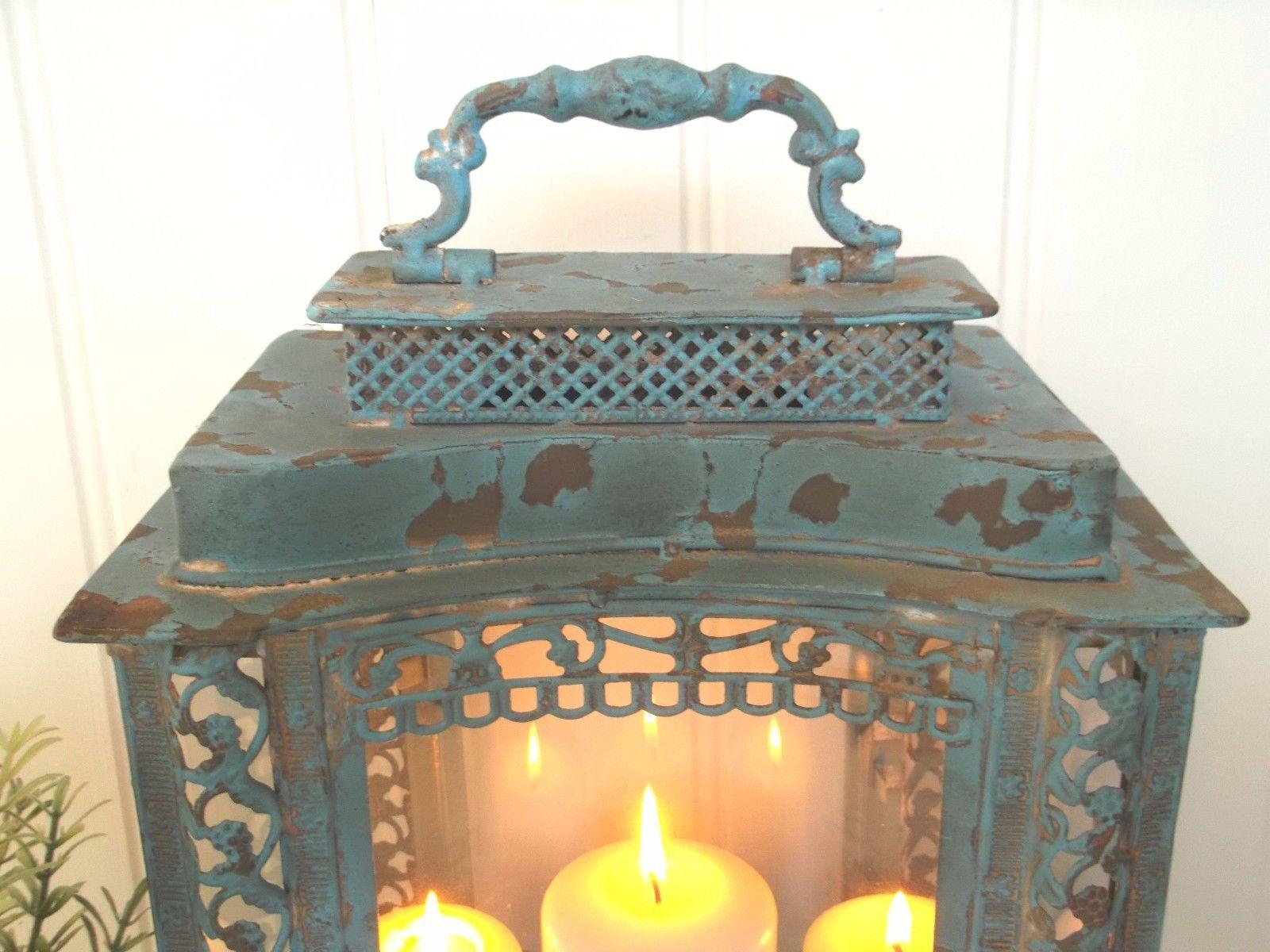 Large French Vintage Style Lantern Candle Holder Shabby