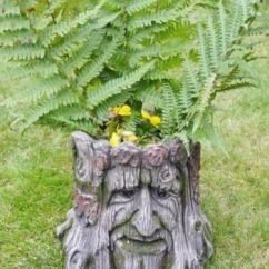 Metal Chair Covers Wedding Ergonomic Lumbar Support Garden Planter Tree Stump Green Man Of The Forest Flower Pot Ornament – Amazing Grace ...