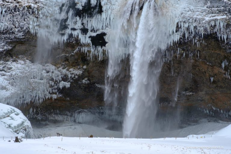 Seljalandsfoss in south iceland at wintertime