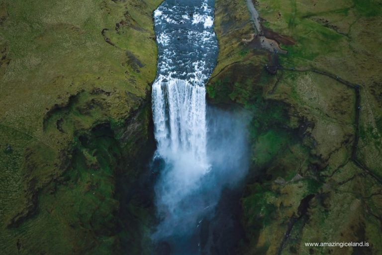 Skogafoss waterfall from air
