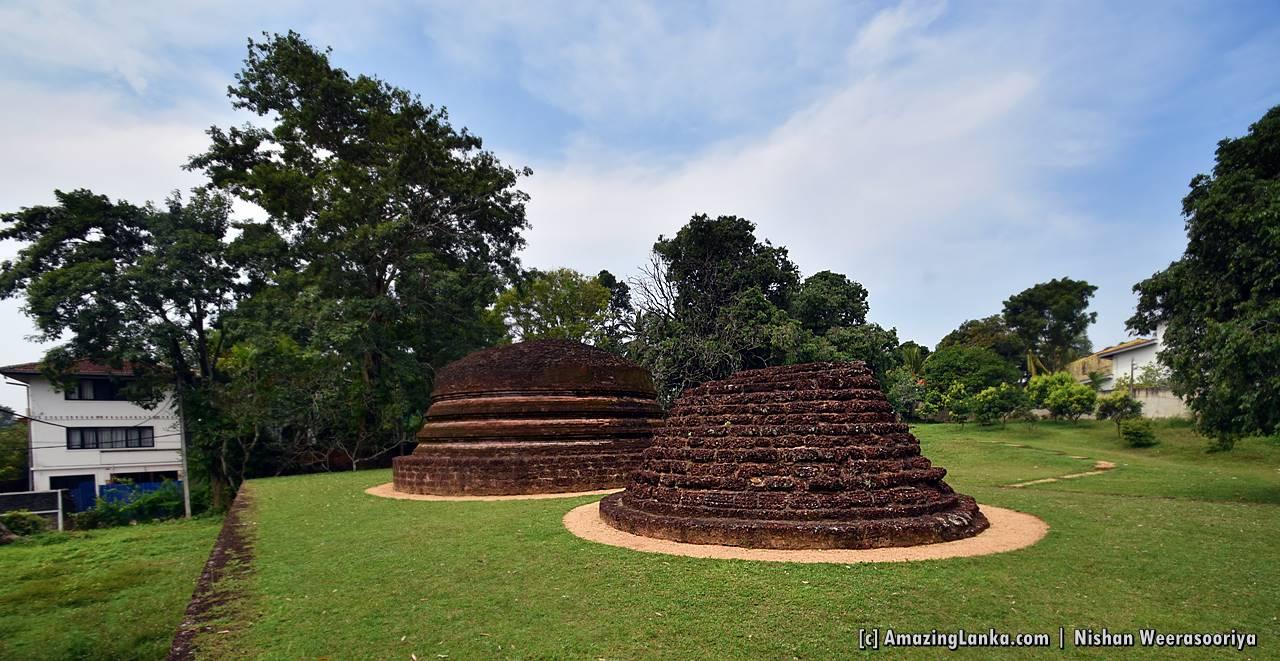Two conserved stupa mounds at the Beddagana Veherakanda Archaeological Site