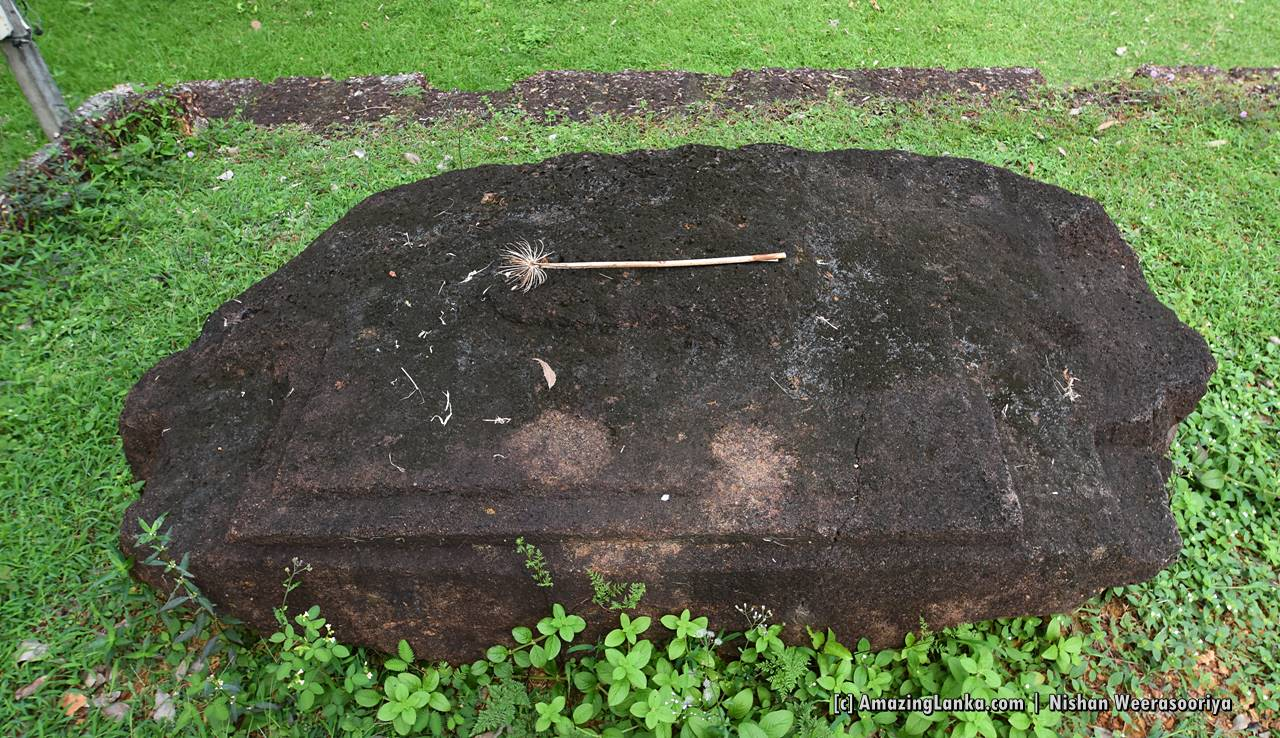 Remains of a small structure resembling a image house at the Beddagana Veherakanda Archaeological Site