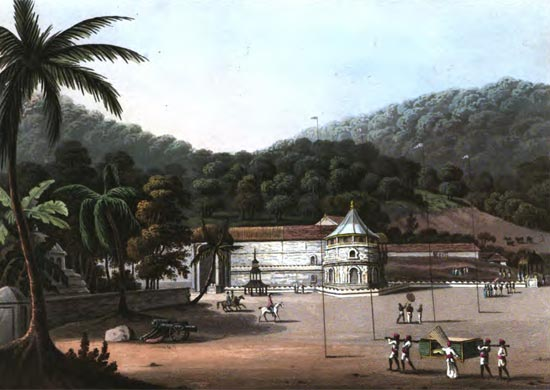 An artists impression of Dalada Maligawa from 'An Account of the Interior of Ceylon' by John Davy published in 1821