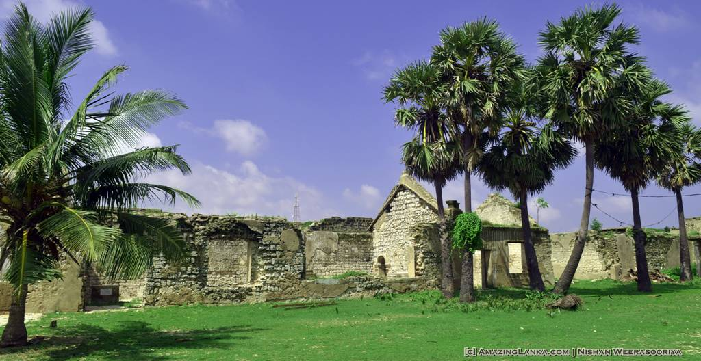 The buildings inside the Mannar Fort